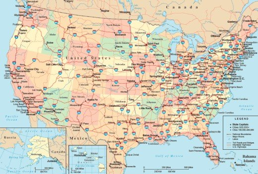 U.S. Interstate Highway Map