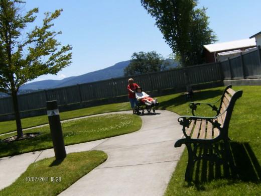 taking mom utside for some fresh air