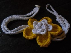 Crochet HeadBand with Flower Made From T-Shirt