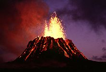 A volcano erupting at Hawaii National Park