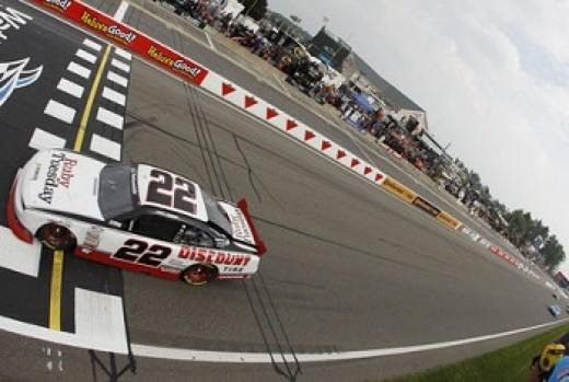 Kurt Busch crossing the checkered line at Watkins Glen NASCAR Race