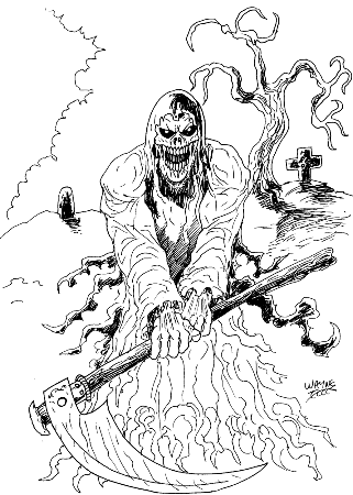 A grim reaper of death drawing by Wayne Tully 2011.