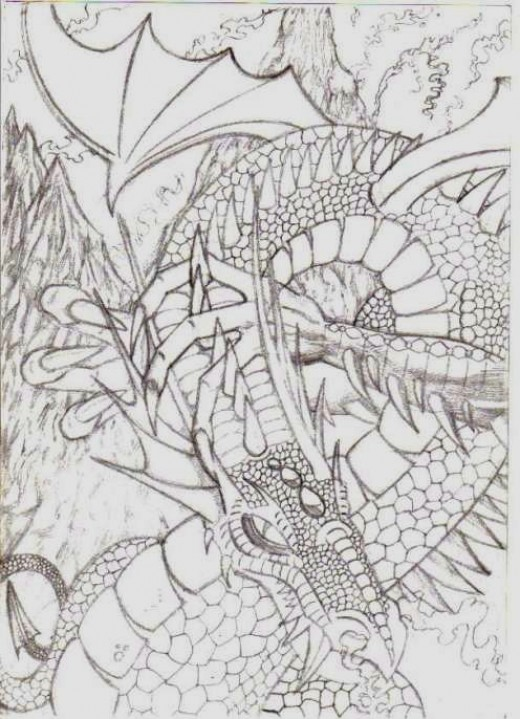 Dragon pencil art by Wayne Tully. 2011