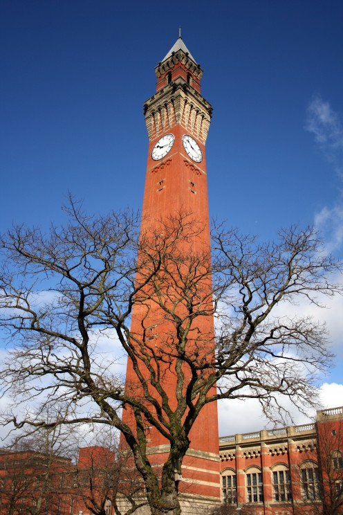 "The Joseph Chamberlain Memorial Clock Tower, also known as ""Old Joe's"", in Chancellor's Square, University of Birmingham in Birmingham, United Kingdom"