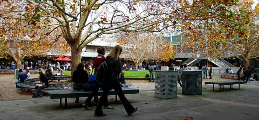Agora at the Bundoora campus of La Trobe University in Melbourne. The center of the Agora is a green patch where students often sit, relax and hang out. This is surrounded by trees, benches and some awesome take-awy joints and cafes.