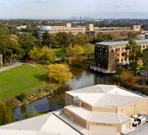 Aerial view of the La Trobe University Bundoora campus in Melbourne. The massive Bundoora campus is about 2 square kms.