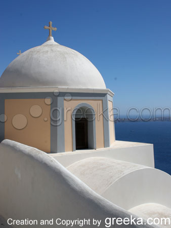 One of the most famous churches of the island of Santorini Greece.