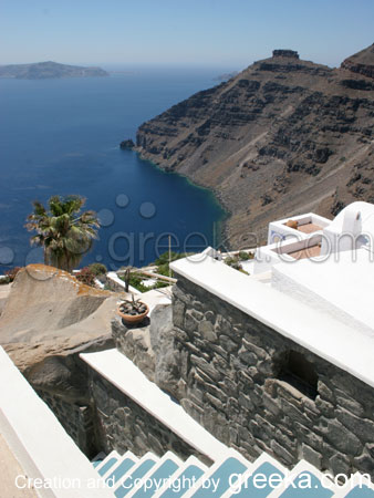 Santorini Pictures: View of the cliffs from a hotel in Firostefani.