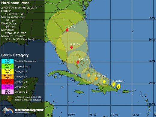 current 5 day forecast map as of Monday afternoon 8/22/11