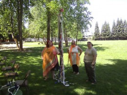 Getting the may pole ready