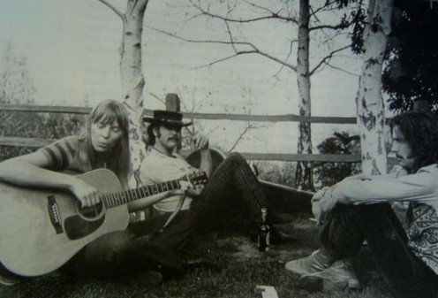 (from left) Joni Mitchell, David Crosby and Eric Clapton