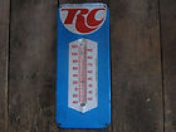 RC COLA, LIKE COCA COLA AND PEPSI, FOUND A GREAT AD GIMMIC IN PUTTING THEIR LOGOS ON THERMOMETERS AND CLOCKS.