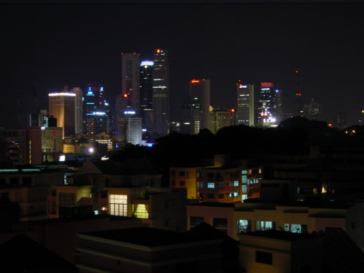 Night view of Singapore from Hang Out Hotel