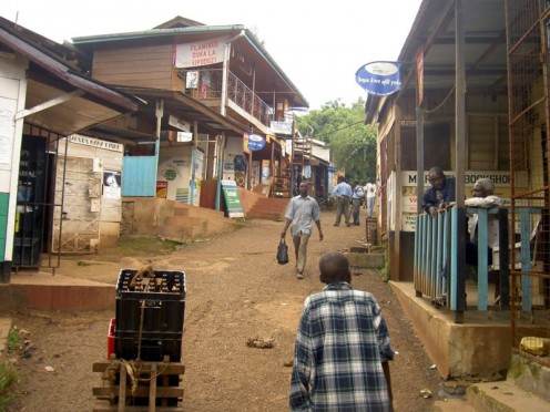 A typical street of Marangu
