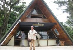 At the door of Mount Kilimanjor Park Marangu Gate Reception