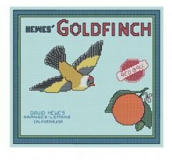 free cross stitch pattern Goldfinch fruit crate label