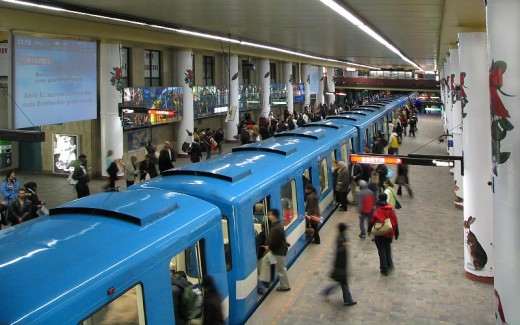Montreal metro at a station