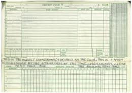 An Early Cricket Score Book