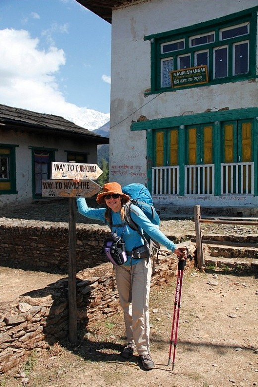 Me with my sunhat, pack, trekking poles and camera carrying system in place