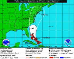 Latest projected path for Hurricane Irene as of the 11 pm update on 8/23/11