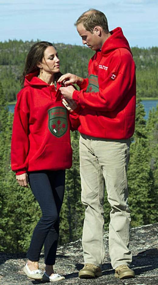 William and Catherine wear the sweaters of the Canadian Rangers after being made honourary members in Blatchford Lake, Northwest Territories