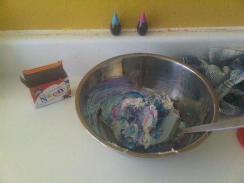 adding the food colouring, it looks like tye-dye