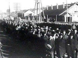 A line of prisoners inside a Gulag.