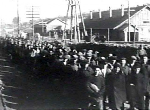 A line of prisoners inside a Gulag.