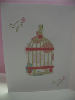 Birdcage Layers Adhered and placed inside card