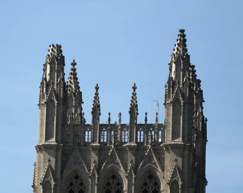 The Washington National Cathedral suffered damage to one of its pinnacles, which are the highest points in the city of Washington, D.C. during a August 23, 2011 earthquake.