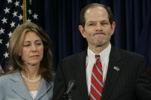 Elliott and Silda Spitzer at the press conference in which he admitted infidelity.
