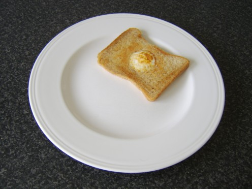 The eggy bread is plated first