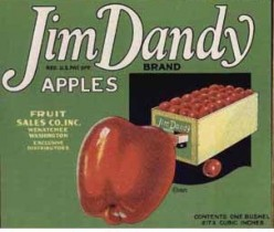 free cross stitch pattern Jim Dandy fruit crate label
