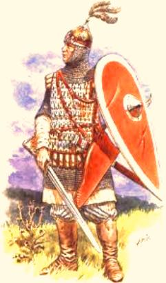 Although the Rus were Scandinavian mercenaries - usually from amongst the Svear   (Swedes)- the uniforms they wore to battle or at court were of Slav origin. This would be a captain in the Prince's guard