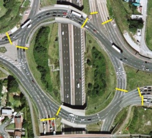 Negotiating the roundabout in Manchester, England can be daunting if you're not used to it.