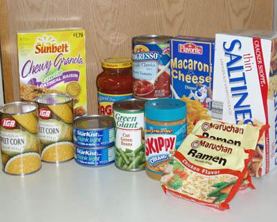 Non-perishable food items are a must.