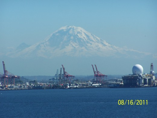 MT.  RAINIER, WA. FROM THE STERN OF THE CARNIVAL SPIRIT