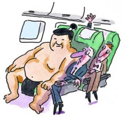 Should some people have to buy 2 seats for air travel or should the airlines make their seats bigger