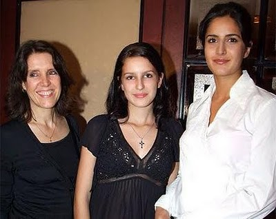 With sister and mother