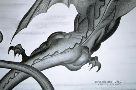 """""""Taurus Draconis"""" Dragon Mammal TORSO Photo Of Original Drawing (c) 2011 Robert G. Kernodle"""