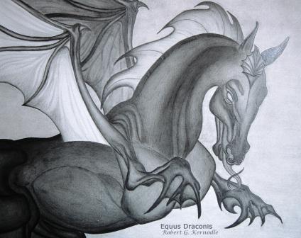 """Equus Draconis"" Dragon Mammal CLOSE-UP Photo Of Original Drawing (c) 2011 Robert G. Kernodle"
