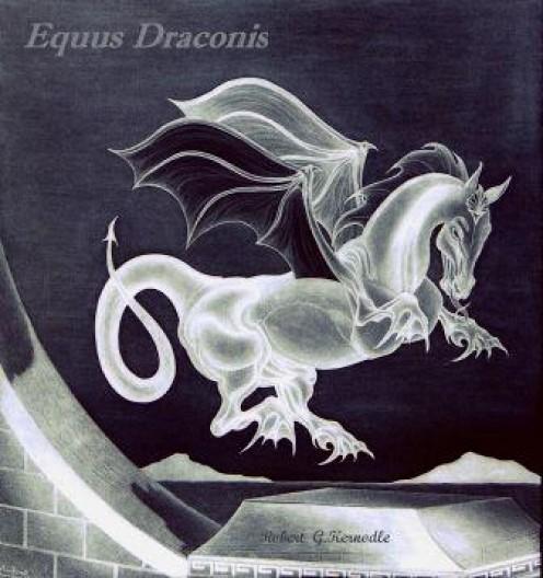 Equus Draconis Dragon Mammal TONAL INVERSION Photo Of Original Drawing (c) 2011 Robert G. Kernodle