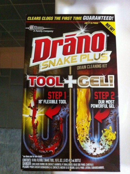 Pick up a home plumbing product like the Drano Snake Plus