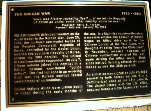 A History of Military Conflict cast in bronze scripture tells the tale throughout the park tour.