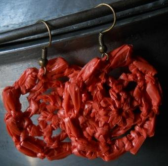 BULLION-Rimmed Flower Earrings - the border of this pair of earrings are bullion stitches lying on their sides.