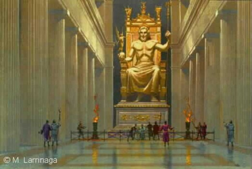 Painting of what the Statue of Zeus may have looked like.