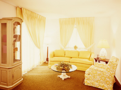 Living Room Interior, With Gold Carpet and Yellow Couch, by H. Armstrong Roberts