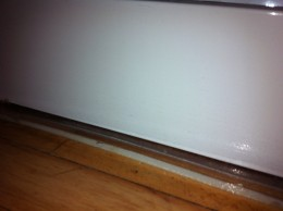 A close up of the protection underlay under the dishwasher!