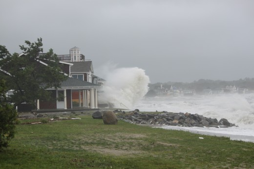 photo i took along the point look out in Milford, ct waves smashing the coast, this is one of the higher coastal points in Milford.