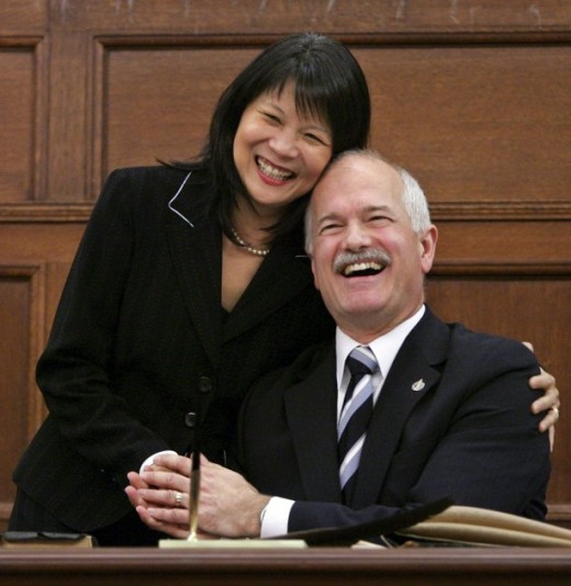 New Democratic Party leader Jack Layton is congratulated by his wife and NDP Member, Olivia Chow